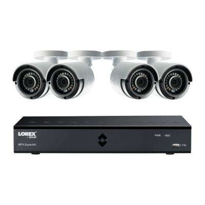 8-Channel SuperHD 4MP 1TB HDD Surveillance DVR System with 4-Indoor/Outdoor Wired Cameras and Remote View