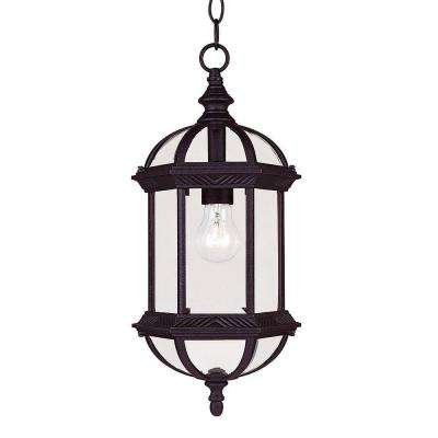 Satin 1-Light Outdoor Textured Black Hanging Lantern