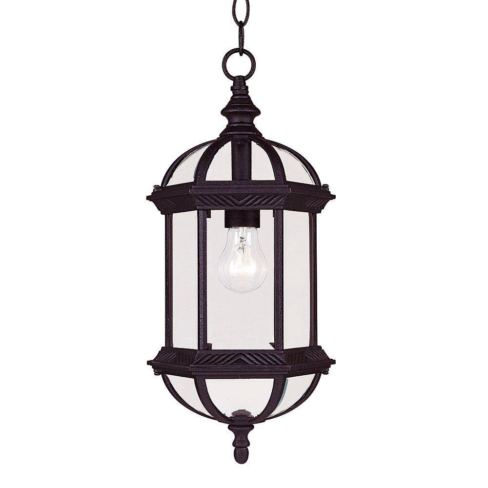 Satin 1-Light Outdoor Textured Black Hanging Lantern