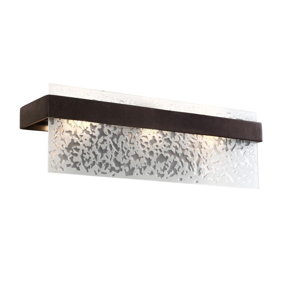 Varaluz Line Up! 3-Light Forged Iron Bath Vanity Light with Water Spot Glass