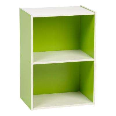 Green 2-Tier Wood Storage Shelf