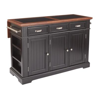 Farmhouse Basics Kitchen Island Black Finish with Vintage Oak and Granite Top