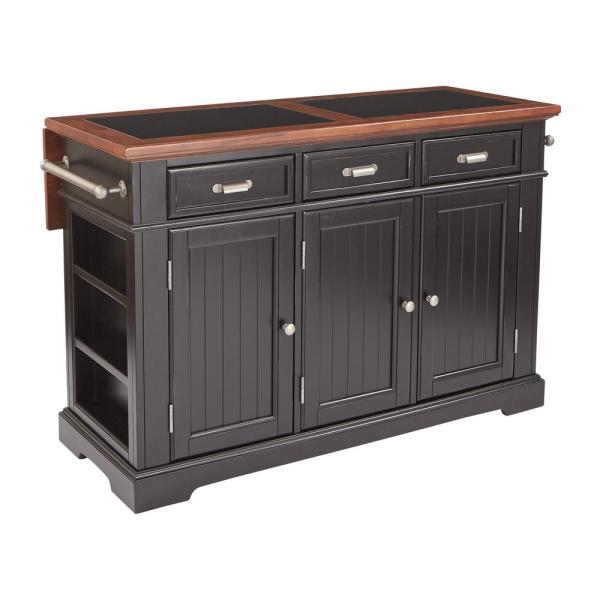 OSP Home Furnishings Farmhouse Basics Kitchen Island Black Finish with Vintage Oak and Granite Top
