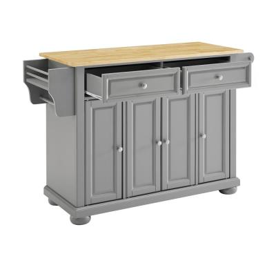 Alexandria Gray Kitchen Island with Wood Top