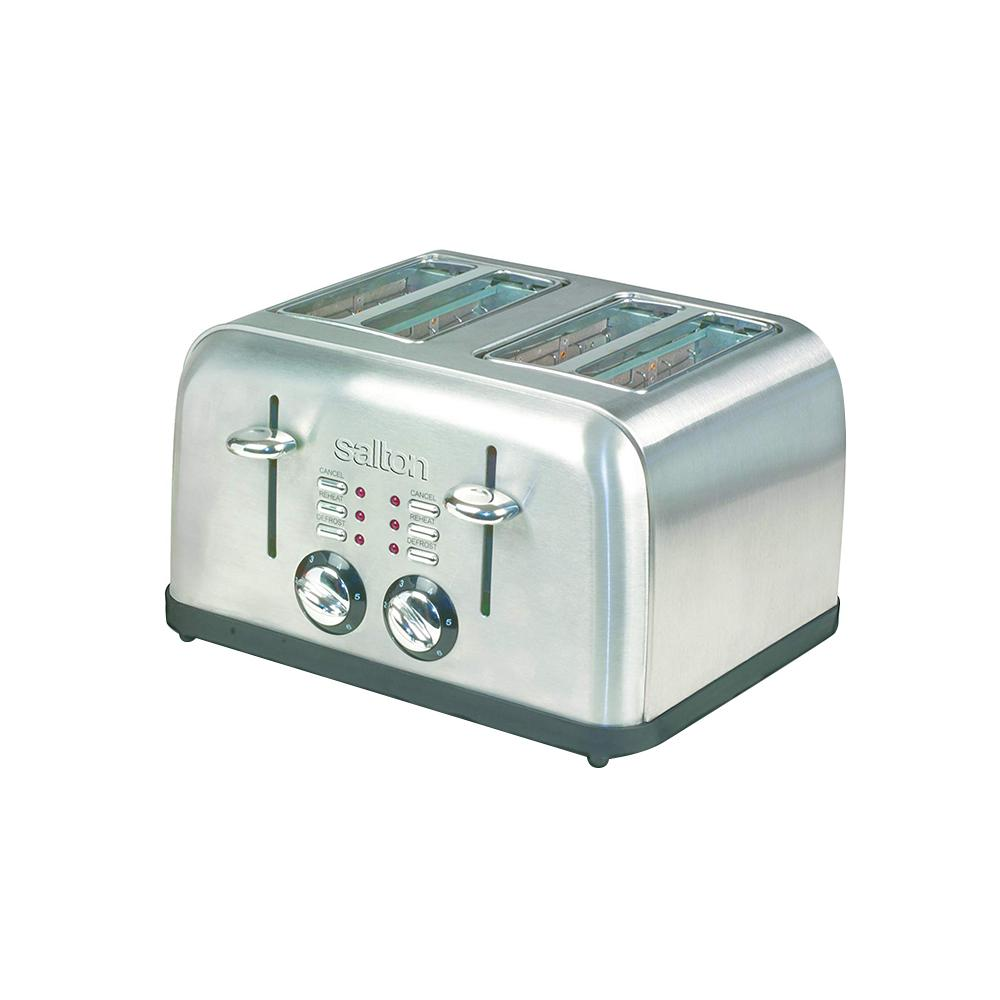 Electronic 4-Slice Stainless Steel (Silver) Toaster Salton 4-Slice Electronic Toaster is made of stainless steel and enhances any countertop. Both thick and thin slices of bread can be accommodated in the extra-wide slots. Consistent browning is ensured with the help of the electronic sensors. It is equipped with the ability to defrost, reheat and toast.