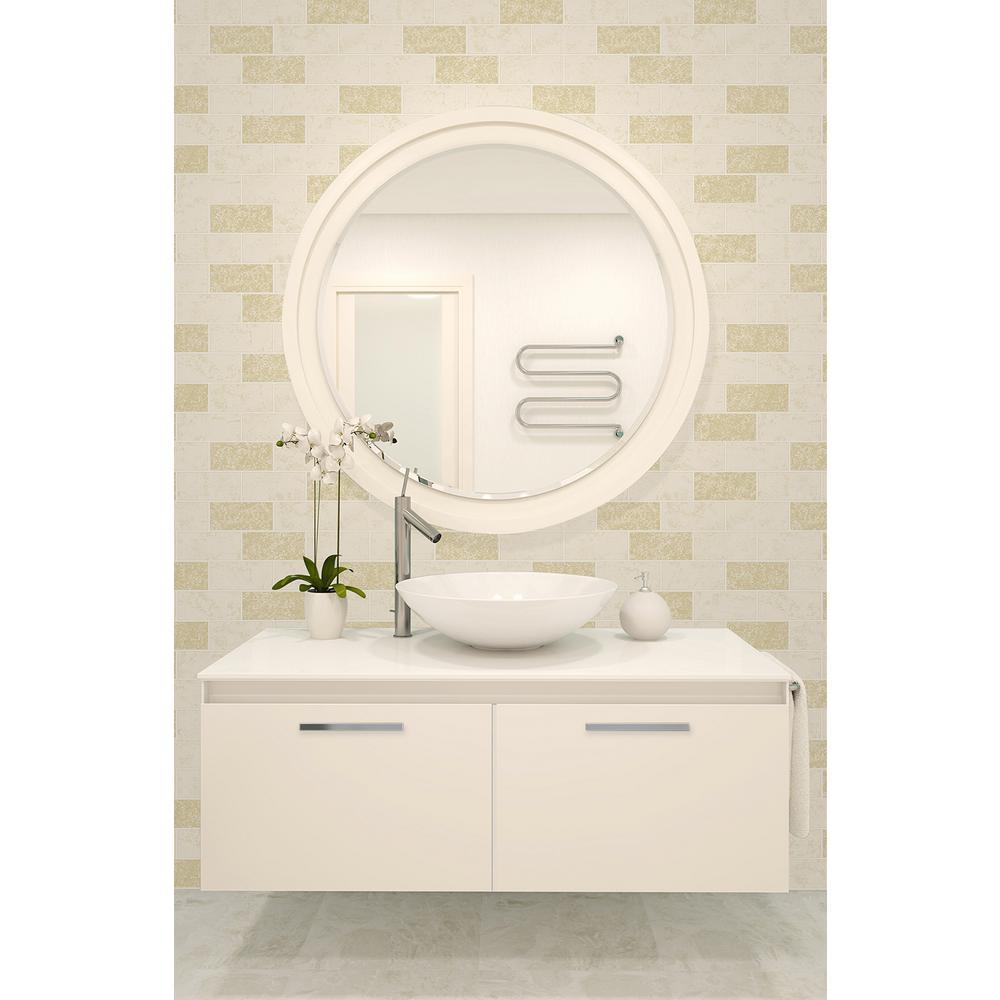 56.4 sq. ft. Ceramica Cream Subway Tile Wallpaper
