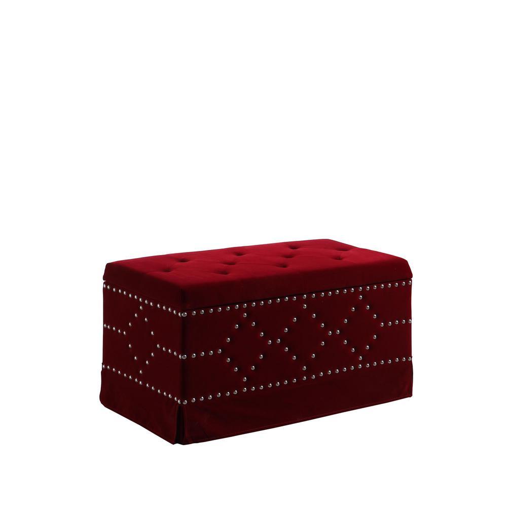 Red Velvet Chrome Nailhead Studs Tufted Storage Bench