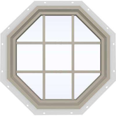 35.5 in. x 35.5 in. V-4500 Series Desert Sand Painted Vinyl Fixed Octagon Geometric Window with Colonial Grids/Grilles