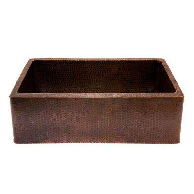 Undermount Hammered Copper 30 in. 0-Hole Single Bowl Kitchen Apron Sink in Oil Rubbed Bronze