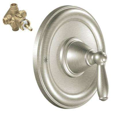 Brantford Single-Handle Posi-Temp Trim Kit with Valve in Brushed Nickel