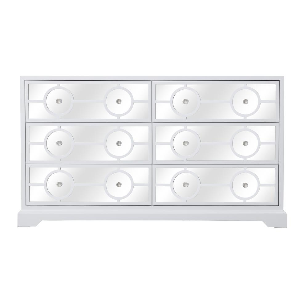 34 in. H x 60 in. W x 20 in. D Timeless Home 6-Drawer in White Cabinet