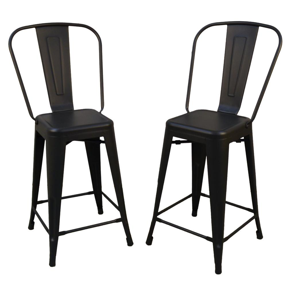 info for 98f42 1ef6b Adeline 24 in. Black Metal Counter Stool (Set of 2)