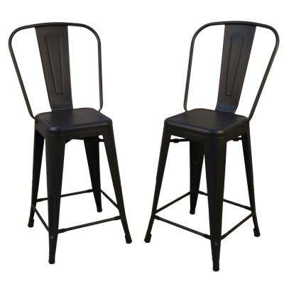 Adeline 24 in. Black Metal Counter Stool (Set of 2)