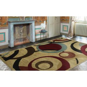 Ottomanson Contemporary Abstract Beige 7 ft. 10 inch x 9 ft. 10 inch Area Rug by Ottomanson