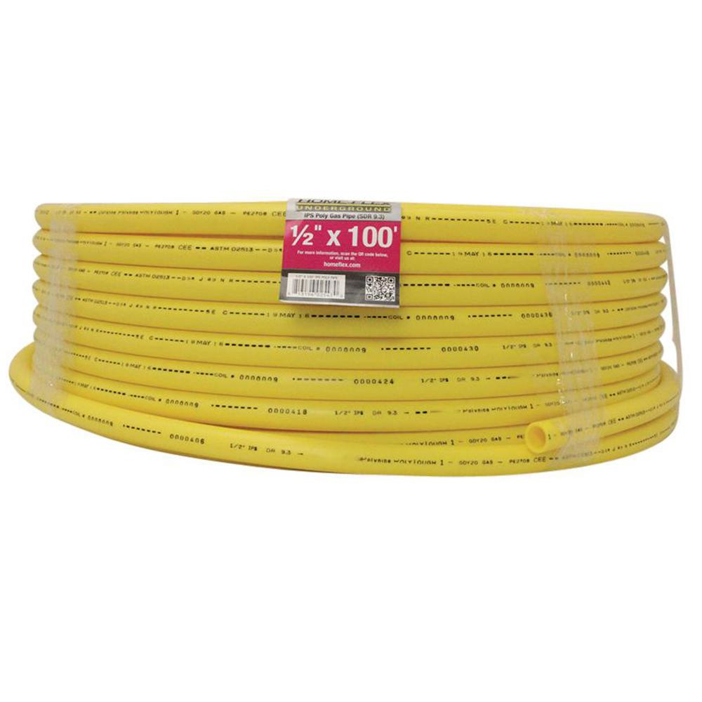 Home Flex 1 2 In Ips X 100 Ft Dr 9 3 Underground Yellow Polyethylene Gas Pipe 19 0593100 The Home Depot
