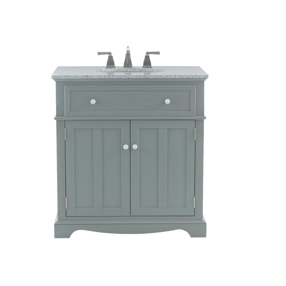 Home Decorators Collection Fremont 32 In W X 22 In D Bath Vanity In Grey With Granite Vanity Top In Grey