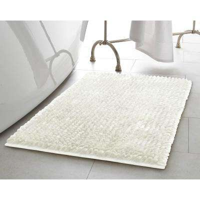 Mega Butter Chenille 17 in. x 24 in. Bath Mat in White