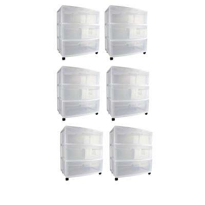 15.25 in. W x 25.625 in. H Home 3-Drawer Wide Storage Cart Container with Casters (6-Pack)