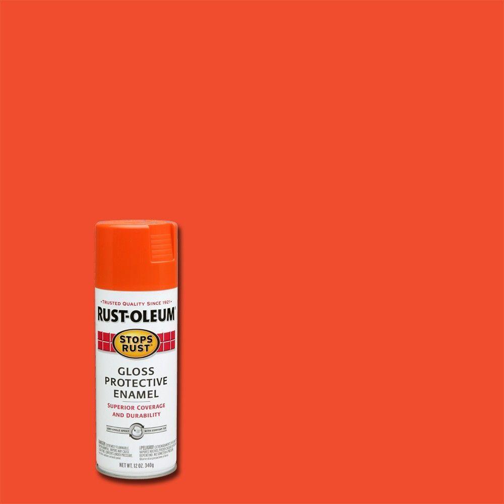 Rust-Oleum Stops Rust 12 oz. Protective Enamel Gloss Orange Spray Paint