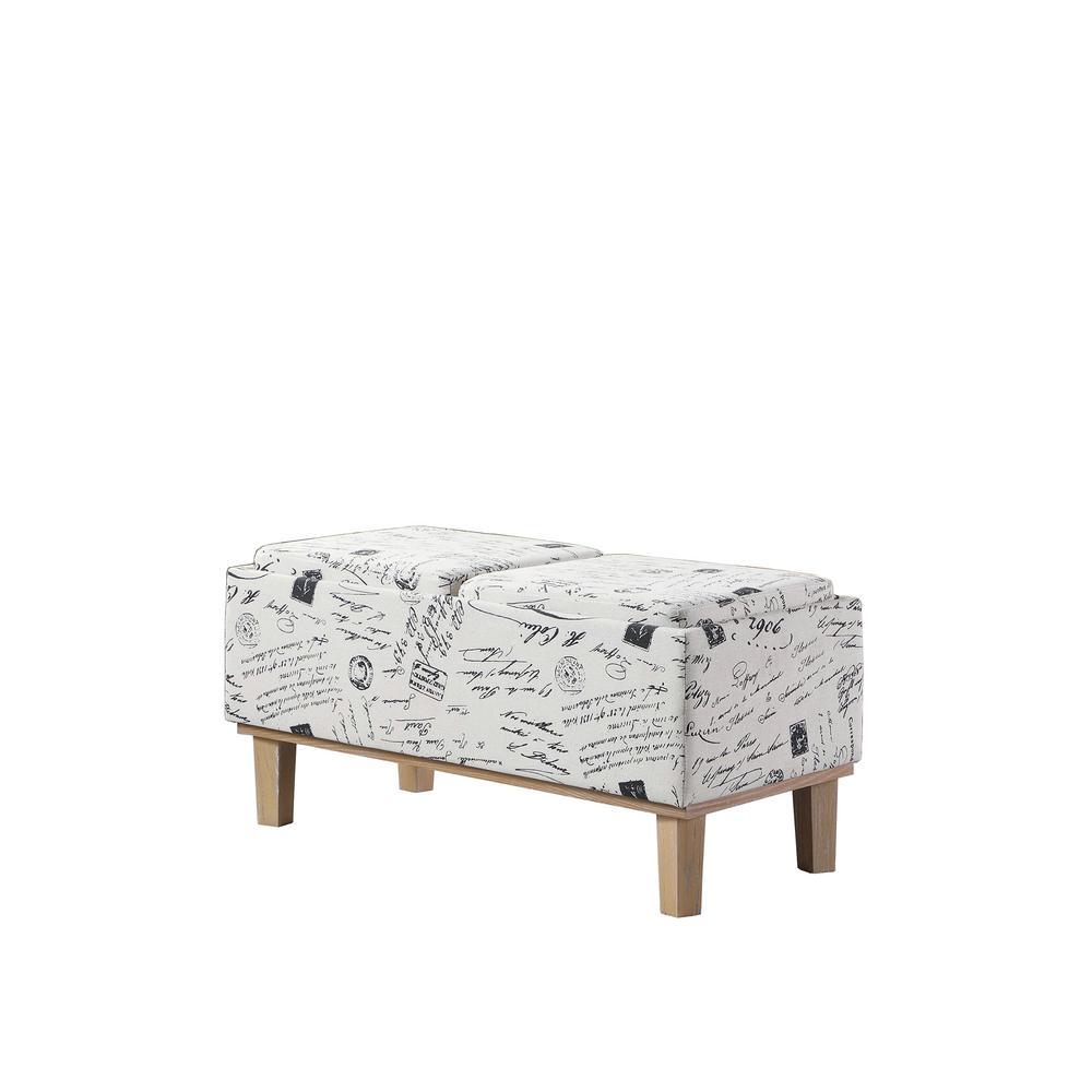 17 in. Beige Stencils Letter Pattern Seat Flip Storage Bench with Unfinished Legs
