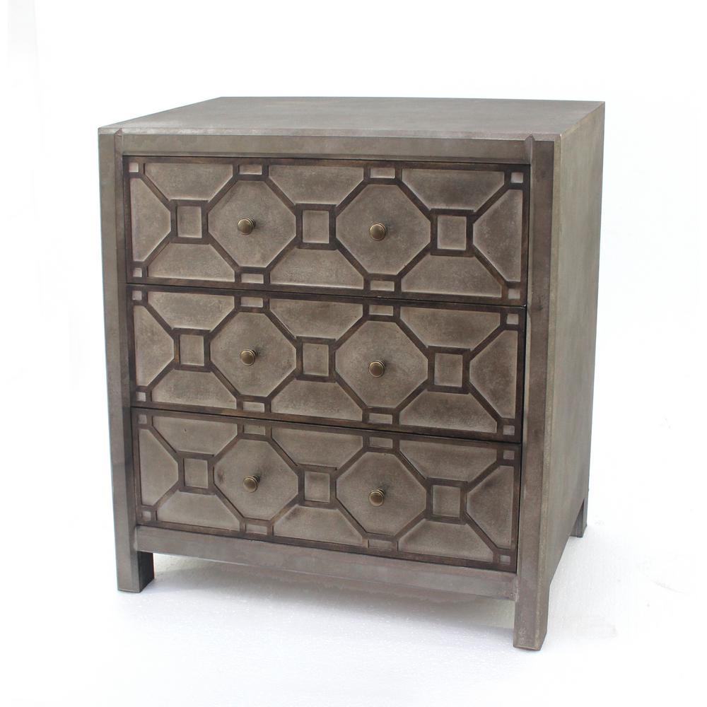 Distressed Brown Wood 3-Drawer Storage Cabinet AF-013
