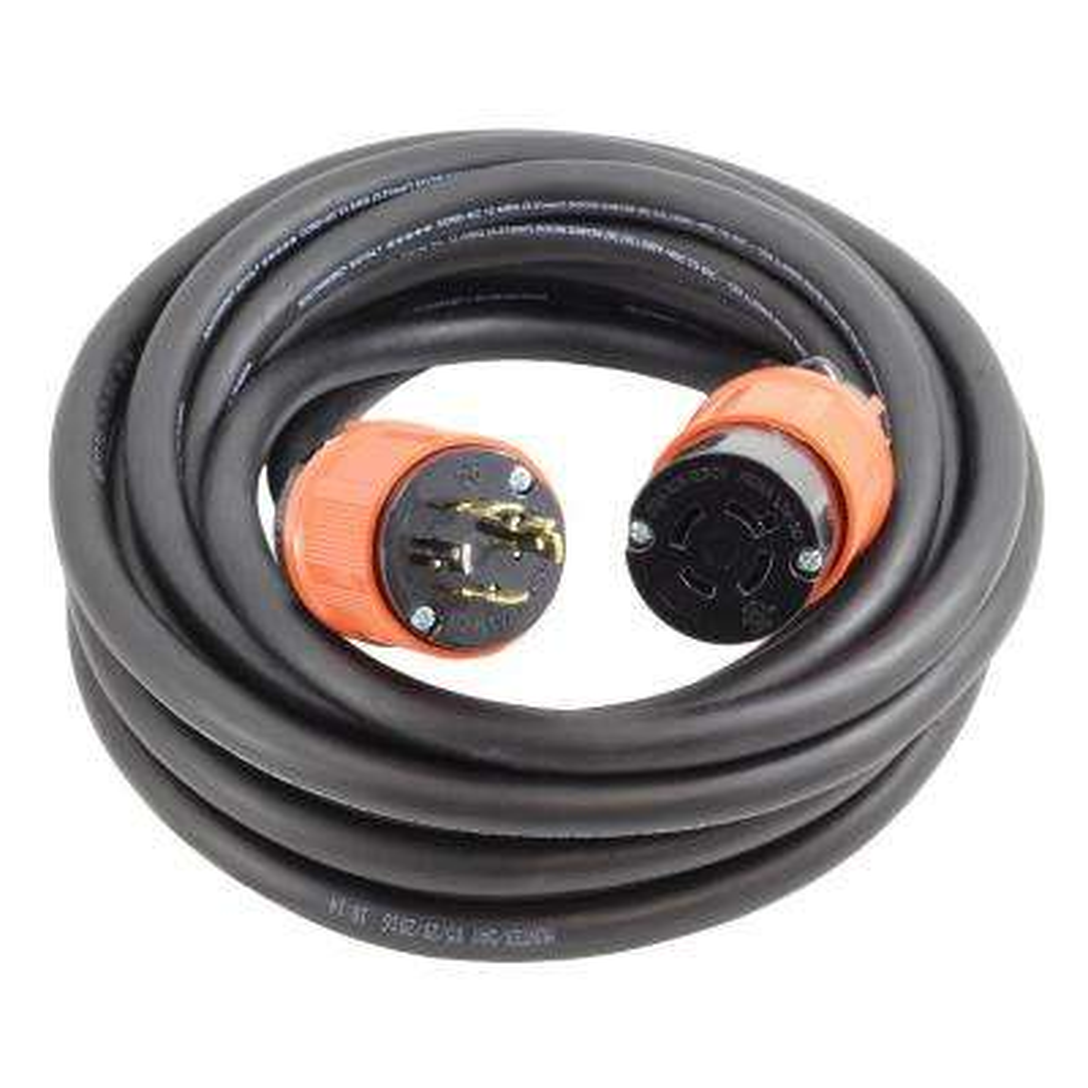 AC Connectors 50 ft. 12/4 Heavy Duty SOOW L14-20 20 Amp 125/250-Volt Generator Rubber Extension Cord