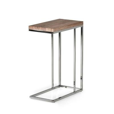 Lucia Brown Light Chairside End Table with Chrome Base
