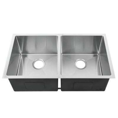 Hardy Undermount 33 in. Double Bowl Kitchen Sink in Stainless Steel