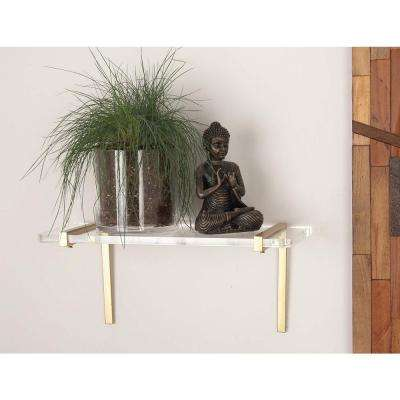 7 in. L x 18 in. W Modern Gold-Finished Iron and Acrylic Shelf