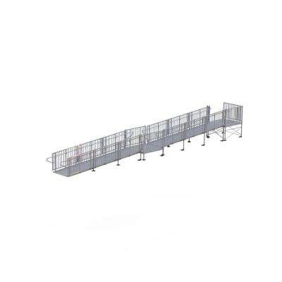 Titan 36 ft. Aluminum Commercial Modular Ramp with Platform and Handrails