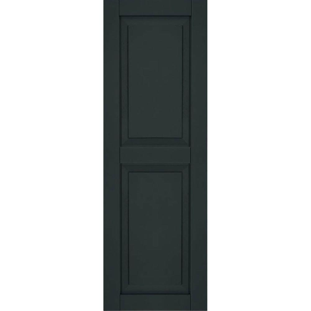 Ekena Millwork 12 in. x 48 in. Exterior Composite Wood Raised Panel Shutters Pair Dark Green