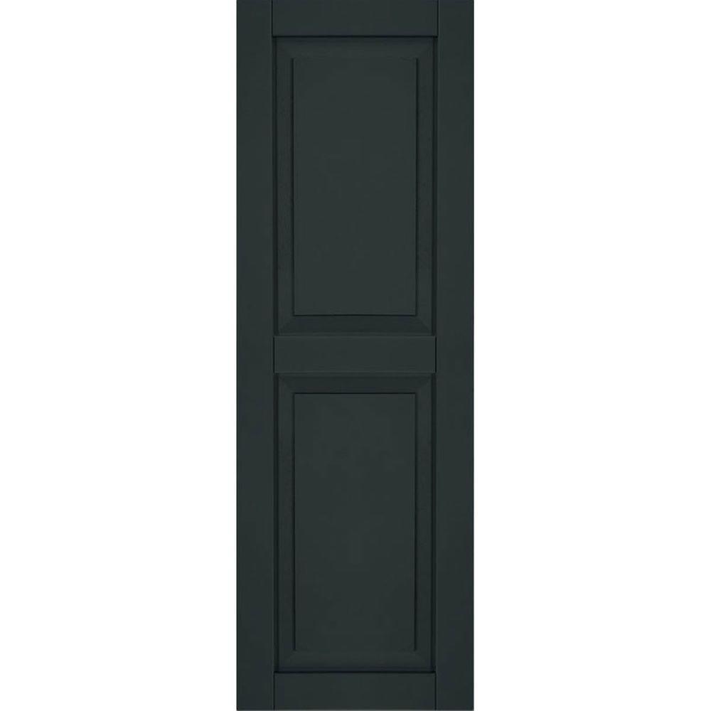 Ekena Millwork 12 in. x 65 in. Exterior Composite Wood Raised Panel Shutters Pair Dark Green