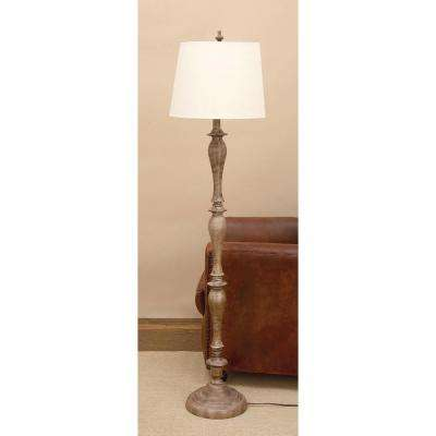 65 in. Tapered Polystone Floor Lamp in Polished Brown Finish