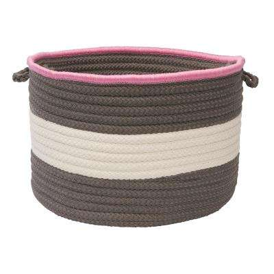 Color Pop Round Polypropylene Basket Gray/Pink 14 in. x 14 in. x 10 in.