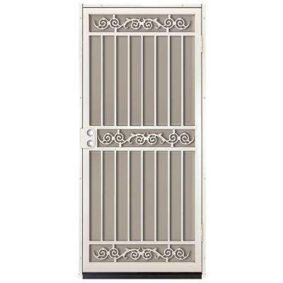 36 in. x 80 in. Sylvan Almond Surface Mount Outswing Steel Security Door with Tan Perforated Aluminum Screen