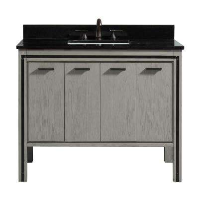 Dexter 43 in. W x 22 in. D x 33 in. H Bath Vanity in Rustic Gray with Granite Vanity Top in Black with White with Basin