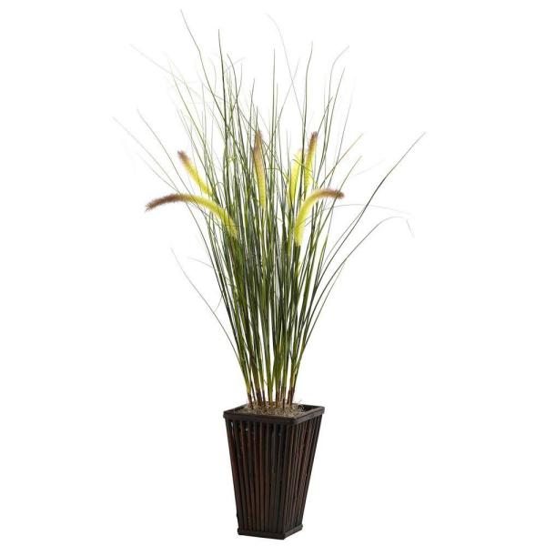 Grass with Cattails and Bamboo Planter