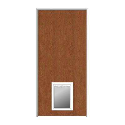 36 in. x 84 in. 1-3/4 in. Thick Flush Left-Hand Solid Core Unfinished Red Oak Single Prehung Interior Door with Pet Door