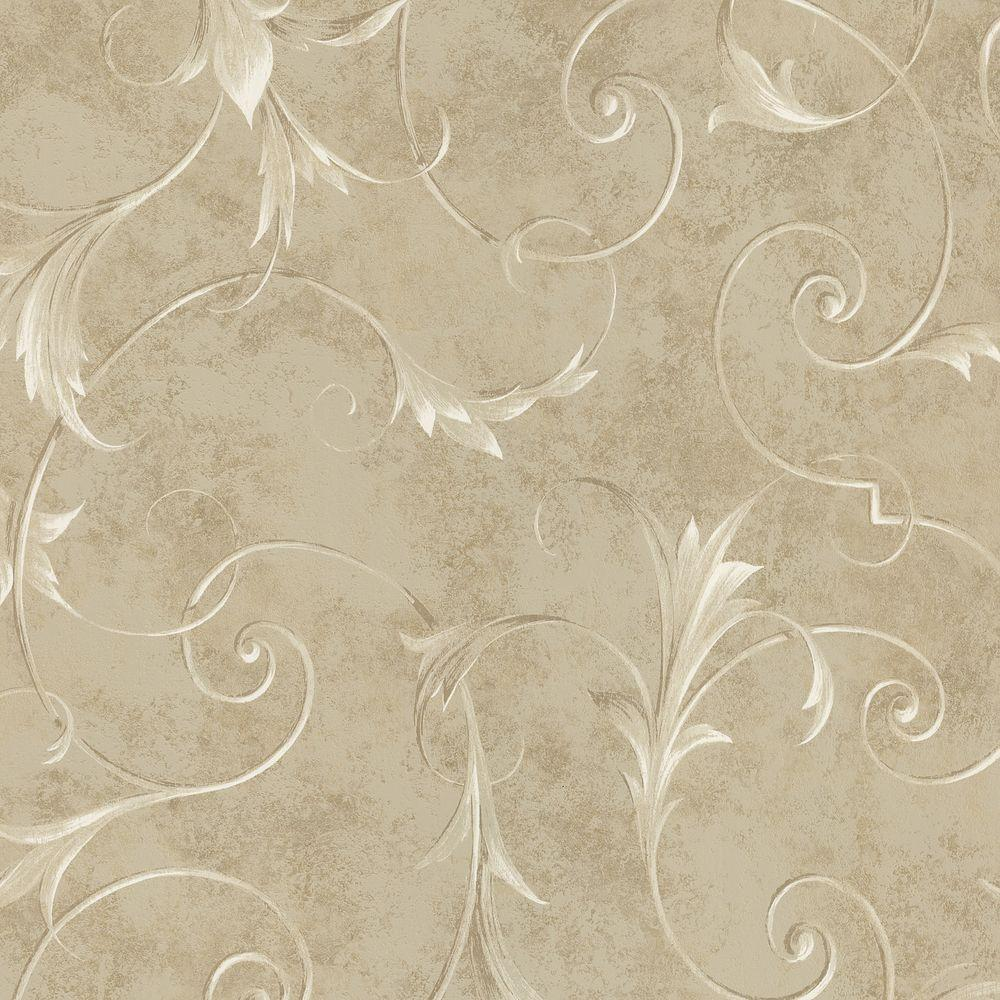 Brewster 56 sq. ft. Marble Scroll Wallpaper