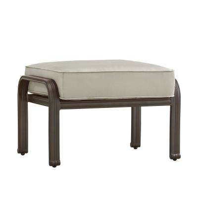 Thoren Aluminum Outdoor Ottoman with Beige Cushion