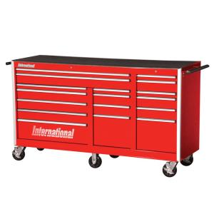 International Pro Series 75 inch 17-Drawer Roller Cabinet Tool Chest in Red by International