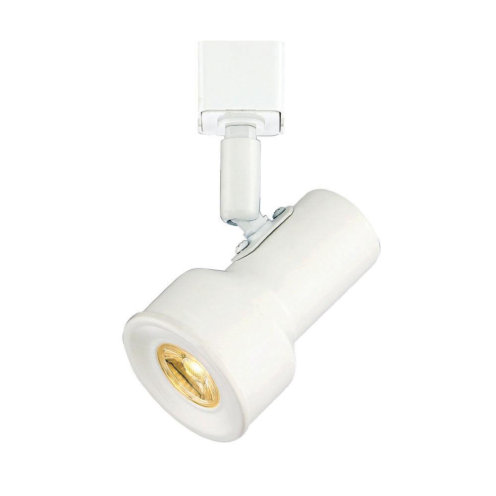 Small Solid White Step Cylinder Integrated LED Track Lighting Head
