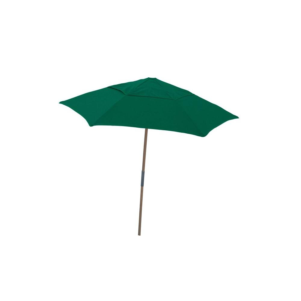 Null 7.5 Ft. Wood Beach Patio Umbrella With Forest Green Spun Acrylic