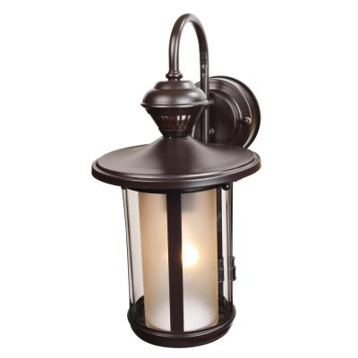1-Light Oil Rubbed Bronze Motion Activated Outdoor Wall Lantern Sconce