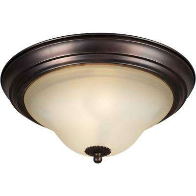 3-Light Antique Bronze Flush Mount with Shaded Umber Glass
