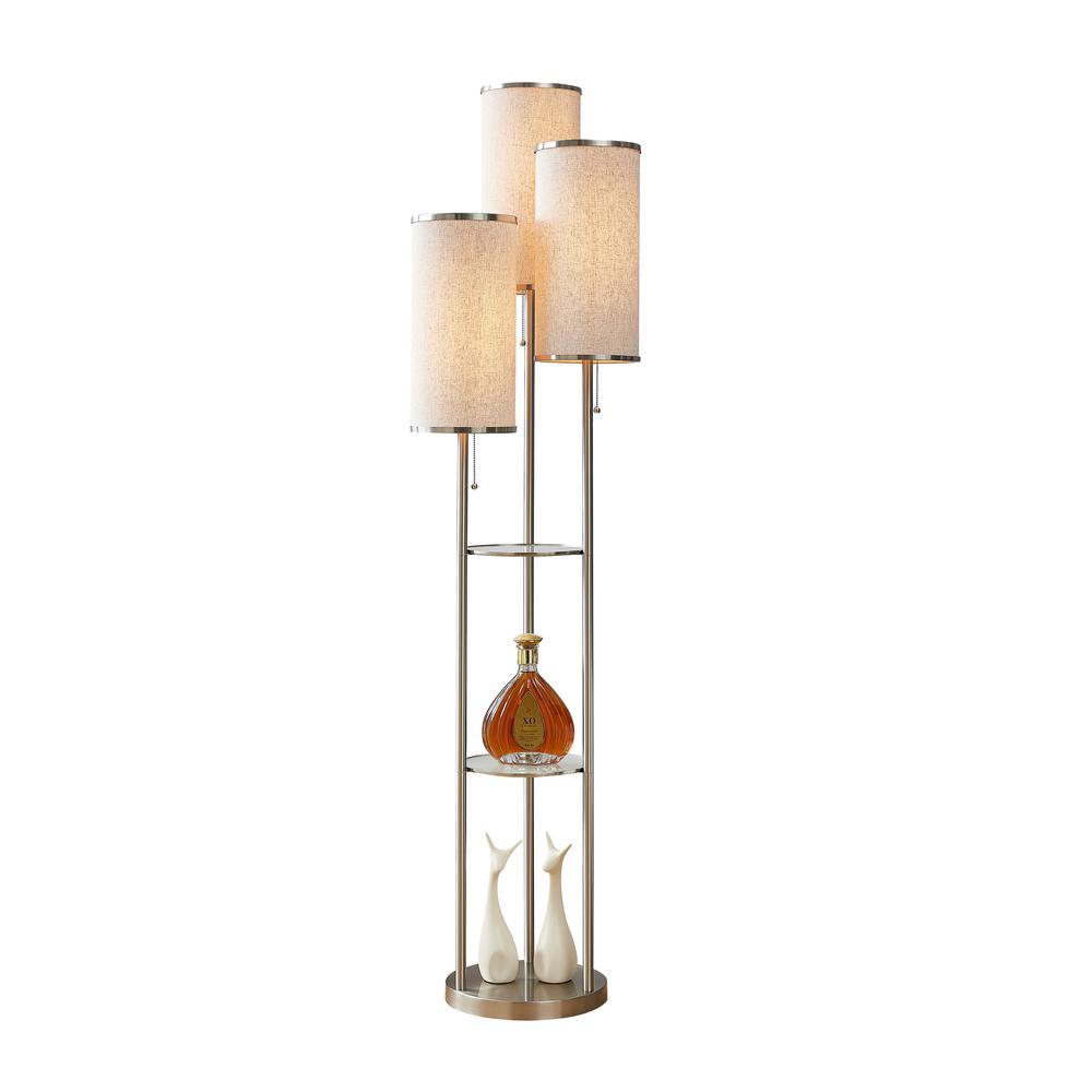 Eleanor 66 in. 3-Light Brushed Nickel LED Shelf Floor Lamp