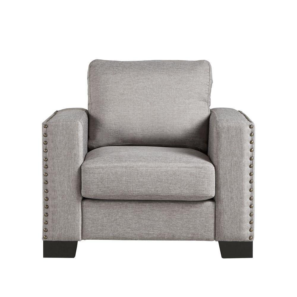 Octavia Charcoal Linen Arm Chair
