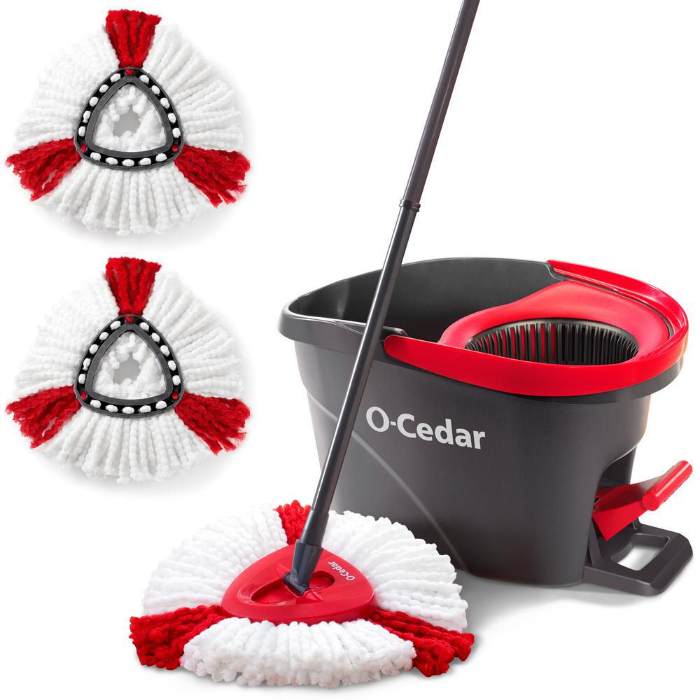 O-Cedar EasyWring Microfiber Spin Mop and Bucket Floor Cleaning System with 2 Extra Power Refills