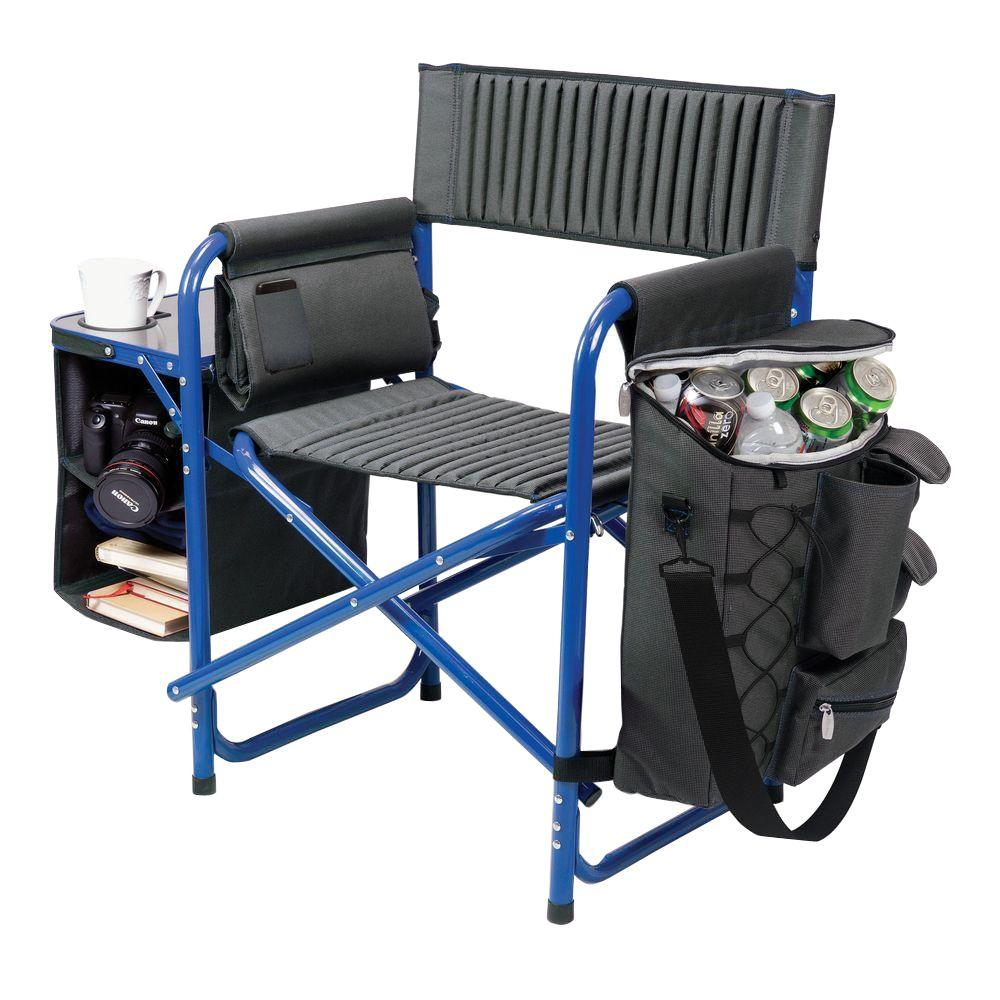 Dark Grey with Blue Fusion Portable Outdoor Patio Chair