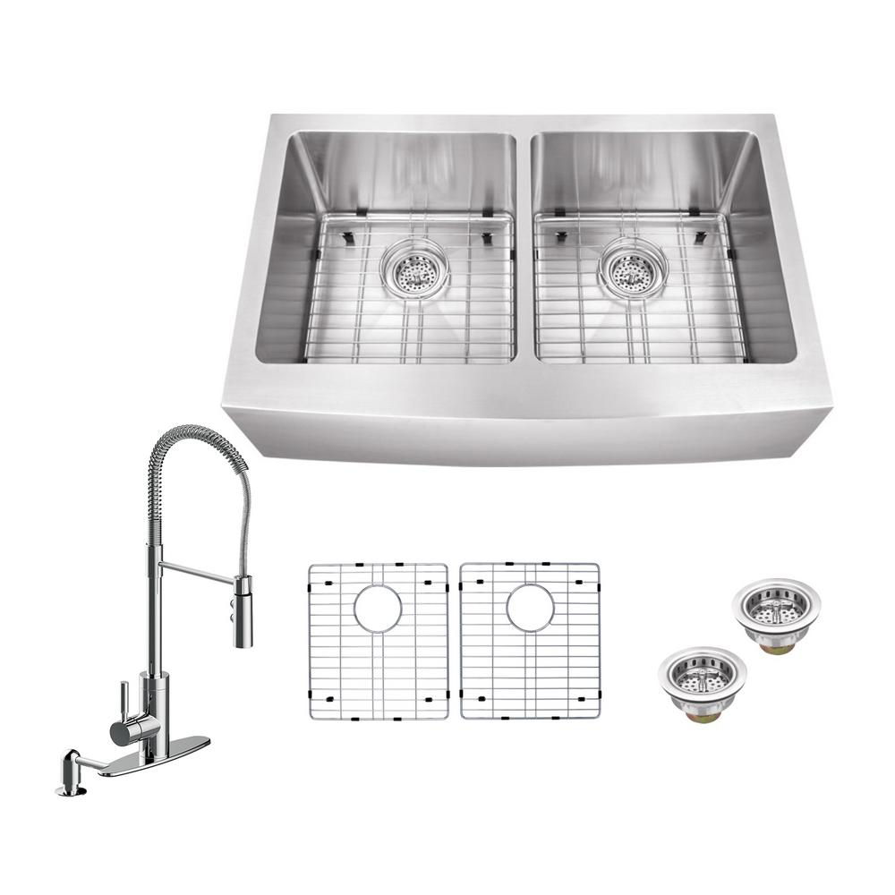 Schon All In One Farmhouse Apron Front Stainless Steel 33